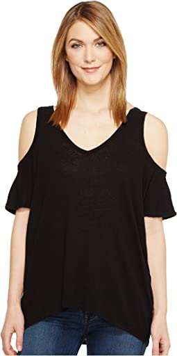 Hemp Jersey V-Neck Cold Shoulder Tee