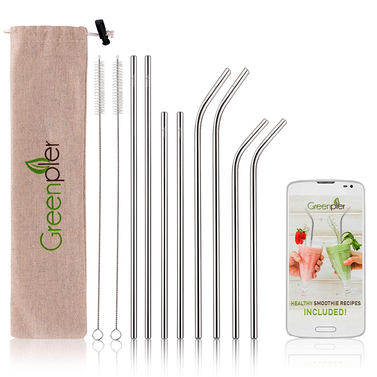 Stainless Steel Reusable Straws with Rounded Edge - Set of 8 in 2 Lengths - 4 Straight 4 Bent, 4 Silicone Tips, 2 Cleaning Brushes, Carry Bag - Use with Tumblers, Glasses and Mason Jars