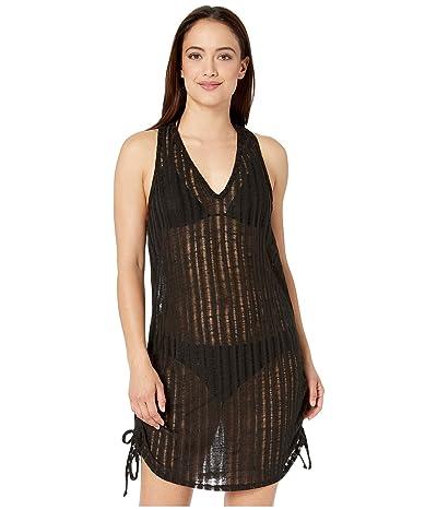DOTTI Pathos Drop Needle Knit Side Shirred Dress Cover-Up (Black) Women