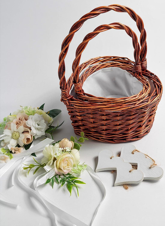 Soul n' Soil Max 70% OFF flower girl Long-awaited basket for 2 of weddings set Rus Brown