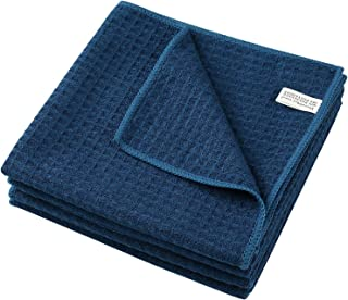 KSolars Microfiber Waffle Weave Dish Towels Dishcloths Ultra Soft Super Absorbent Fast Drying Machine Washable Kitchen Towels for Cooking and Baking 16 Inch X 24 Inch 4 Pack Navy Blue