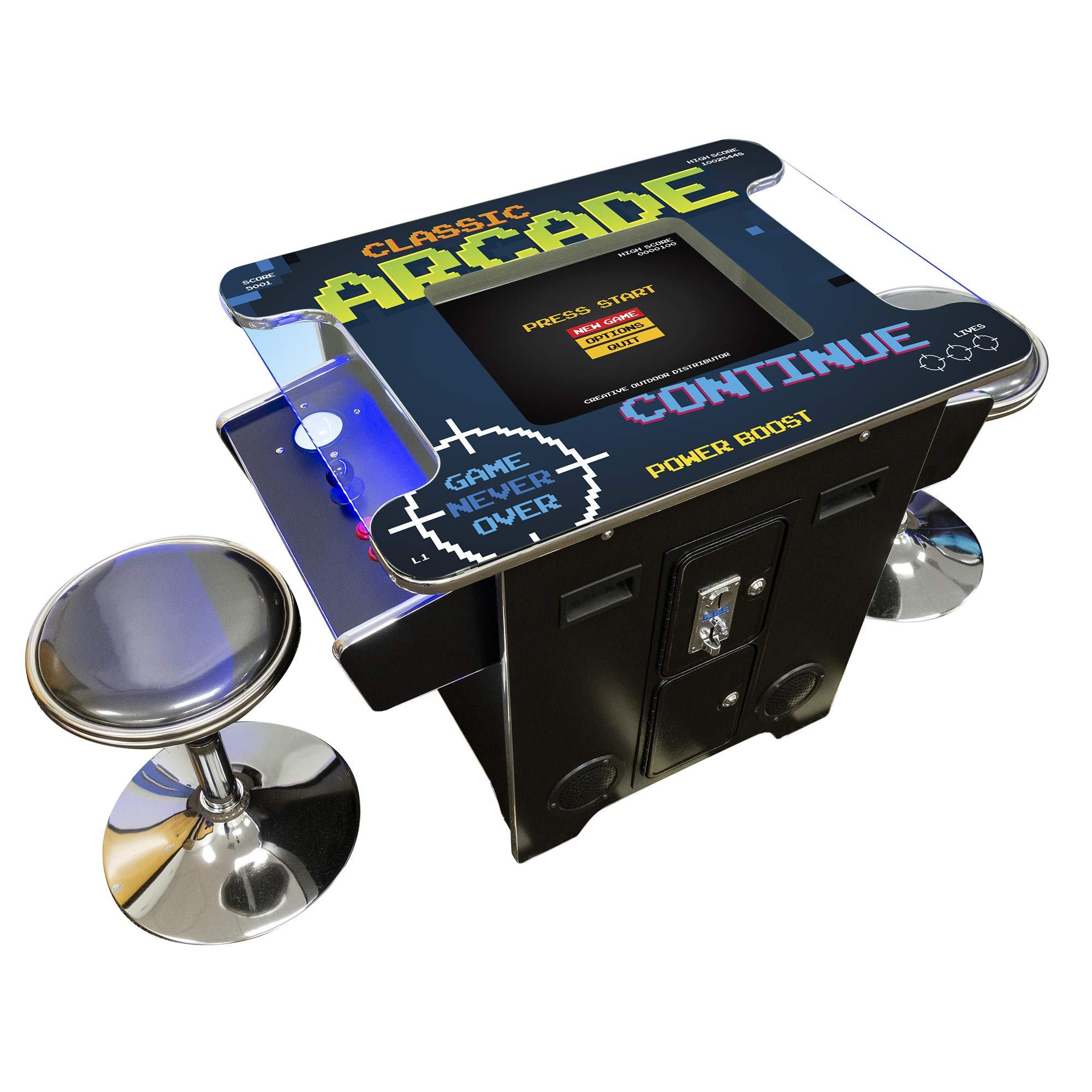 """Creative Arcades Full Size Commercial Grade Cocktail Arcade Machine   2 Player   412 Games   22"""" LCD Screen   Square Glass Top   LED   2 Sanwa Joysticks   Trackball   2 Stools   3 Year Warranty"""