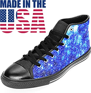 Custom Astronomy EDM Rave Space Art High Top Canvas Womens Sneakers Made in USA