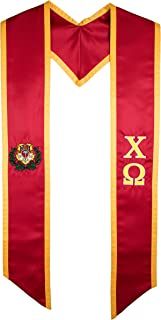 Chi Omega Fraternity Sorority Deluxe Embroidered Graduation Stole
