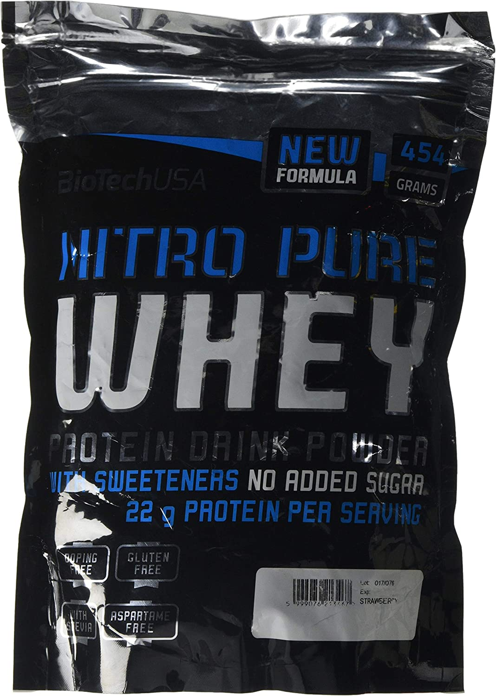 BioTech Nitro Pure Whey Proteínas Sabor Fresa - 454 gr