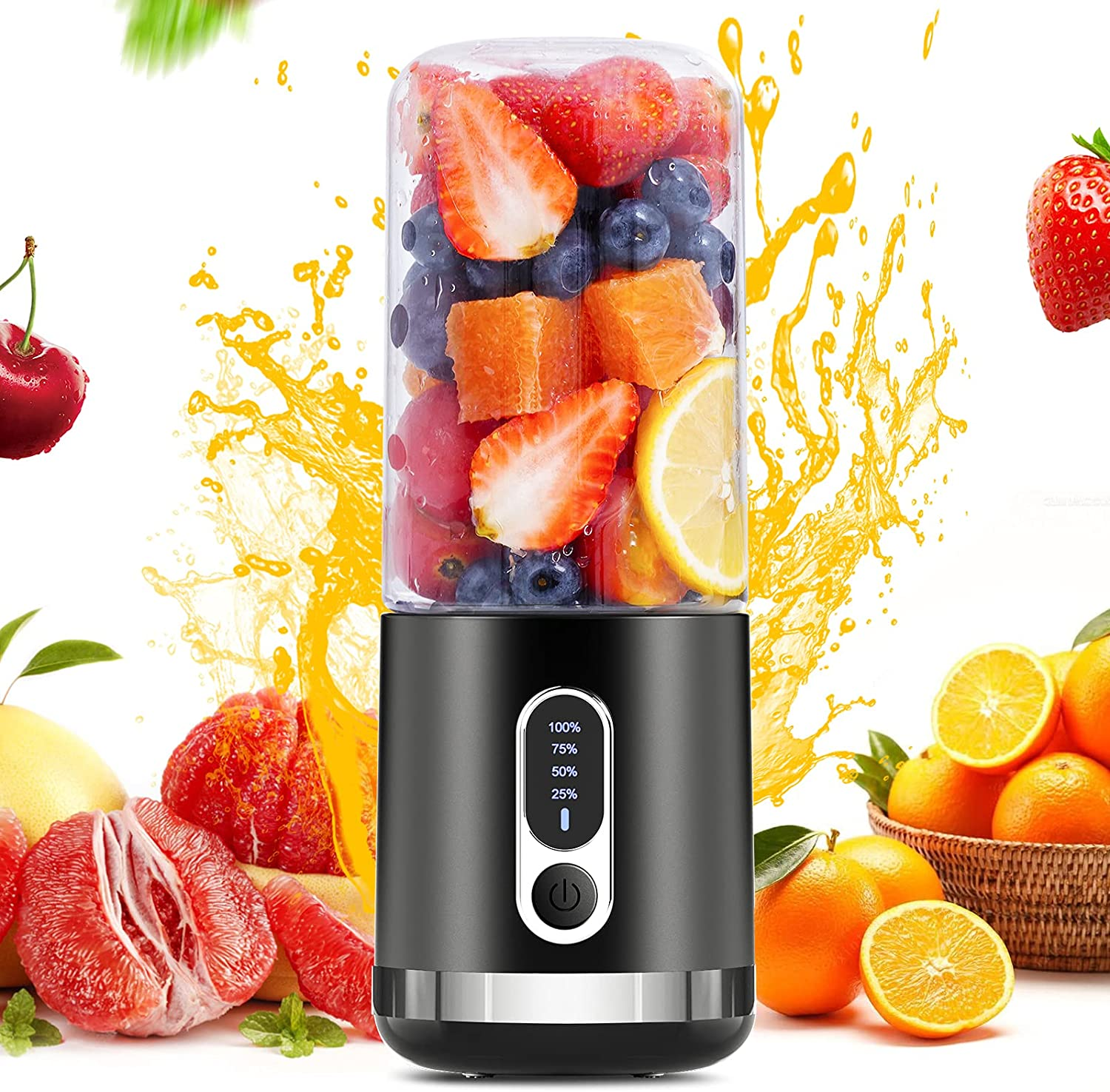 Portable Blender, Togala Personal Blender, 15.2 Oz Fruit Mixer Blender for Kitchen Travel Office, 4000mAh USB-C Rechargeable Mini Blender with Six Blades for Smoothies Shakes and Juice (2021 Black)