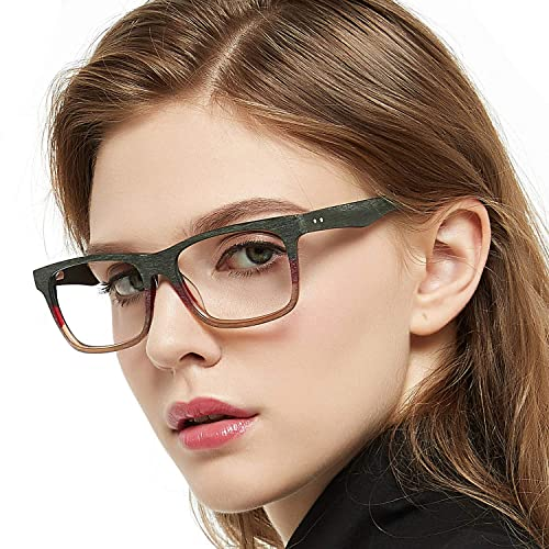 8877b268b48 OCCI CHIARI Rectangular Stylish Acetate Frame Non-prescription Fashion  Clear Lens Eye Glasses Designer For
