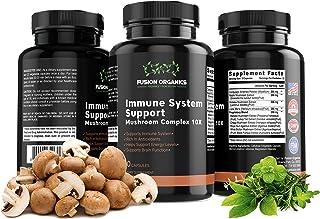 Immune System Support 10 Organic Mushrooms – Antioxidant-Rich, Non-GMO Reishi Mushroom Capsules Boost Brain Function, Ener...