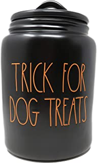 Rae Dunn By Magenta TRICK FOR DOG TREATS Black Ceramic LL Large Pet Canister With Orange Letters 2019 Limited Edition