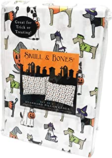 Skull & Bones Happy Halloween Cute Dogs in Costumes Set of Two Standard Pillowcases 20