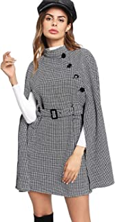 Women's Casual Button Cloak Sleeve Houndstooth Poncho Cape Coat with Belt