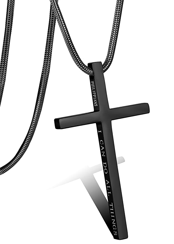 LOLIAS Philippians Cross Pendant Necklace for Men Women Stainless Steel Necklace Snake Chain 24 in