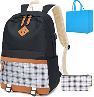 High School Backpack Teens Women Fashion Canvas College Backpack Silver