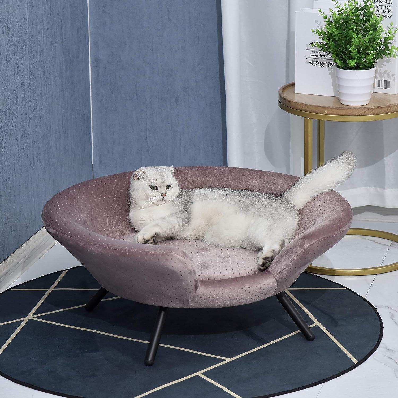 Pawhut Hundesofa in Beckenform mit Weichem Bezug, Haustiersofa mit ...
