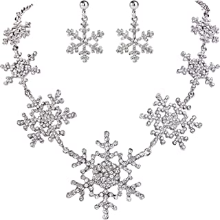 EVER FAITH Silver-Tone Snowflake Austrian Crystal Bridal Necklace Earrings Set