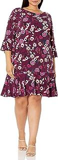 Eliza J womens Floral Print Bell Sleeve Sheath Dress Casual Dress