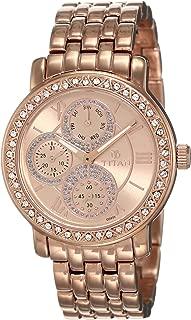 Titan Women's Purple Glam Analog Pink Dial Watch Gold