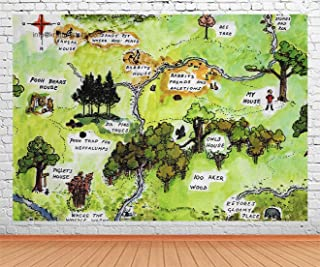 100 Acre Wood Map Cartoon Backdrop for Party, 9x6FT, Winnie The Pooh Theme Baby Kids Birthday Banner Background, Cake Table Photo Booth Props LHLU902