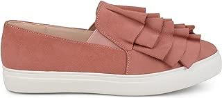 Womens Faux Suede Slip-on Ruffle Sneakers