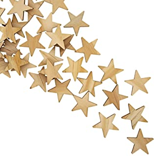 Bright Creations 100-Pack Unfinished Wood Star Cutout Pieces for DIY Crafts, 1 Inch
