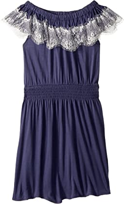 Lace Trim Jersey Dress (Big Kids)