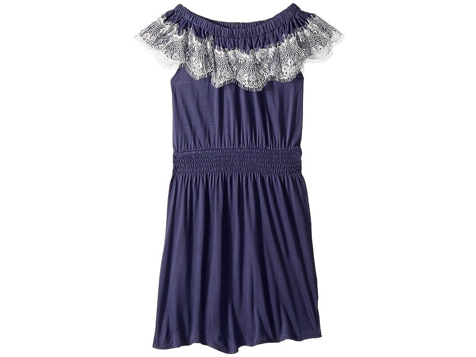 Ella Moss Girl Lace Trim Jersey Dress (Big Kids) (Crown Blue) Girl