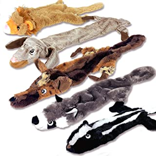 5 Pack Dog Squeaky Toys - No Stuffing Dog Toys Set - No Dangerous Fluff to Chew or Swallow - 2 Squeakers - Big Plush Dog T...