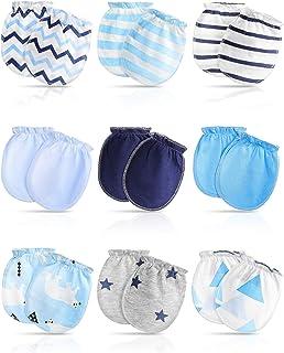 9 Pairs Newborn Baby Cotton Mittens No Scratch Mitten Gloves for Baby Little Boys Girls