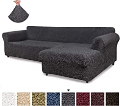 Sectional Sofa Cover - Sectional Couch Covers - L Couch Cover - Soft Polyester Fabric Slipcovers - 1-piece Form Fit Stretch Furniture Slipcover - Microfibra Collection - Grey (Right Chase)