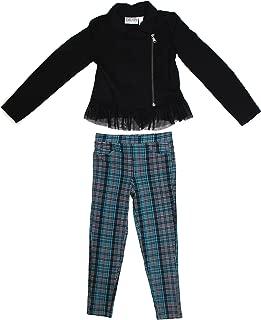Us Angels Blush 女童 2 件套夹克和格子打底裤套装