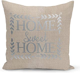 Home Sweet home Cushion Beige Linen Pillow with Metalic Silver Foil Print Fun Couch Pillows