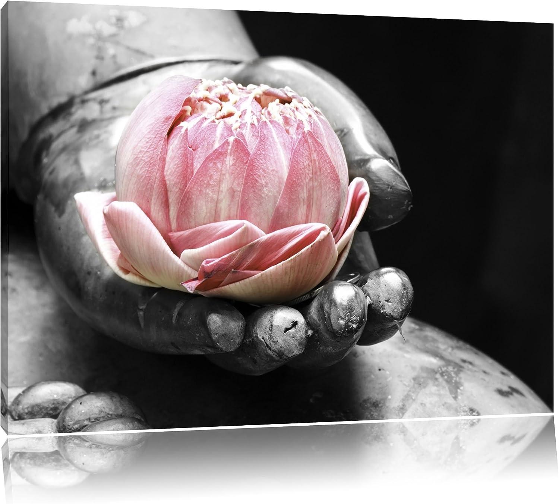 Liegender Lotus Lotus Lotus in einer Hand eines Buddhas schwarz weiß Format  120x80 auf Leinwand, XXL riesige Bilder fertig gerahmt mit Keilrahmen, Kunstdruck auf Wandbild mit Rahmen, günstiger als Gemälde oder Ölbild, kein Poster oder Plakat B00 bb7694