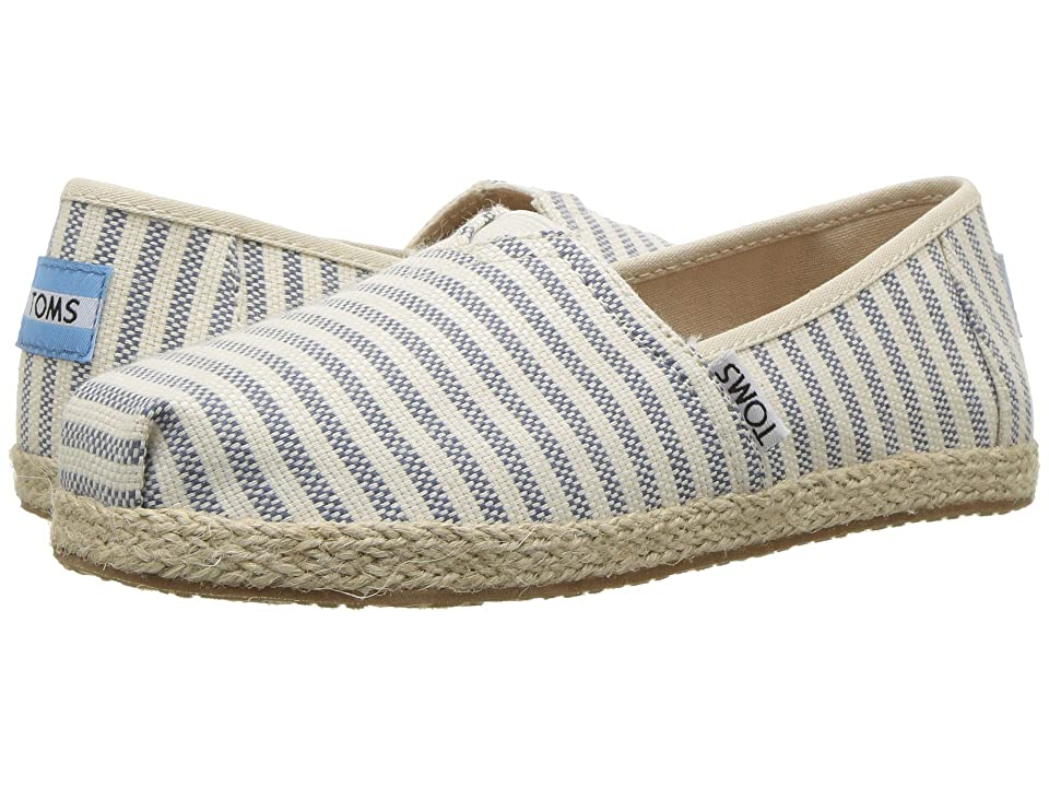 TOMS Kids Alpargata (Little Kid/Big Kid) (Sky Woven Stripe Rope Sole) Girl