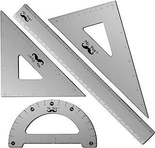 مستر قلم - مجموعه هندسه ، 4 بسته ، تراکتور فلزی ، خط کش آلومینیومی ، مربع مجموعه فلزی ، خط کش مثلث ، مثلث های رسم ، خط کش مثلث ، فلز زاویه دار ، مجموعه پیش نویس ، کیت هندسه ، خط کش پیش نویس