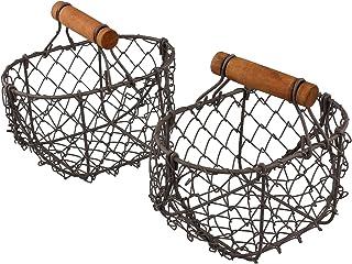 Macosa Home Lot de 2 petits paniers de rangement en fil de fer avec poignées de transport pratiques en bois, solide, éléga...
