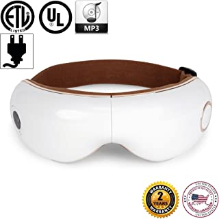 SKANDAS Eye Massager (2019 New Model) - Facial mask/Massage Glasses Rechargeable with Vibration, air Compression, Heat and Music – 2 Years Official Warranty of GLOBAL RELAX® US