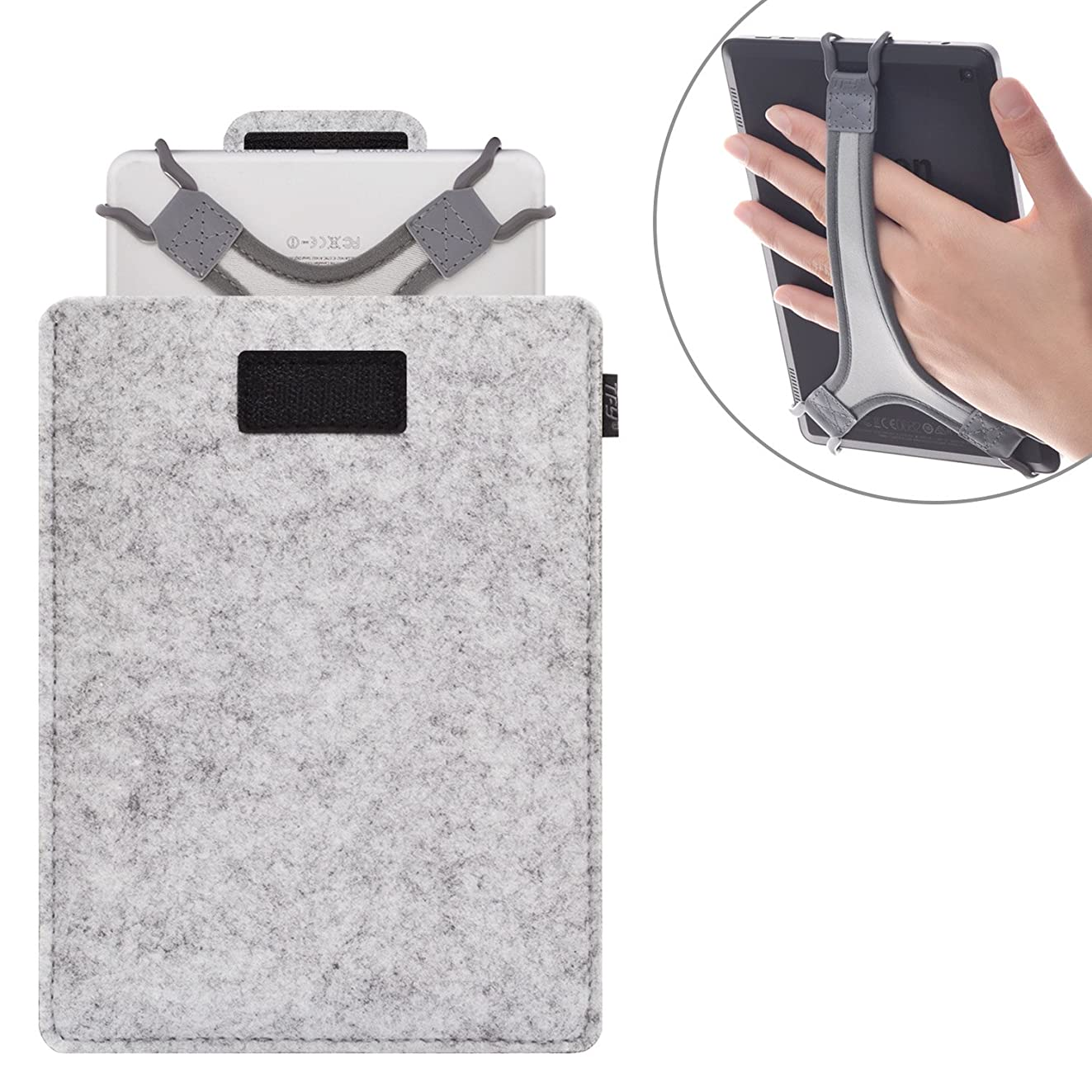 TFY Protective Carrying Pouch Bag (Grey), Plus Bonus Hand Strap Holder for for 9-10 Inch Tablets - iPad Air/iPad Pro 9.7
