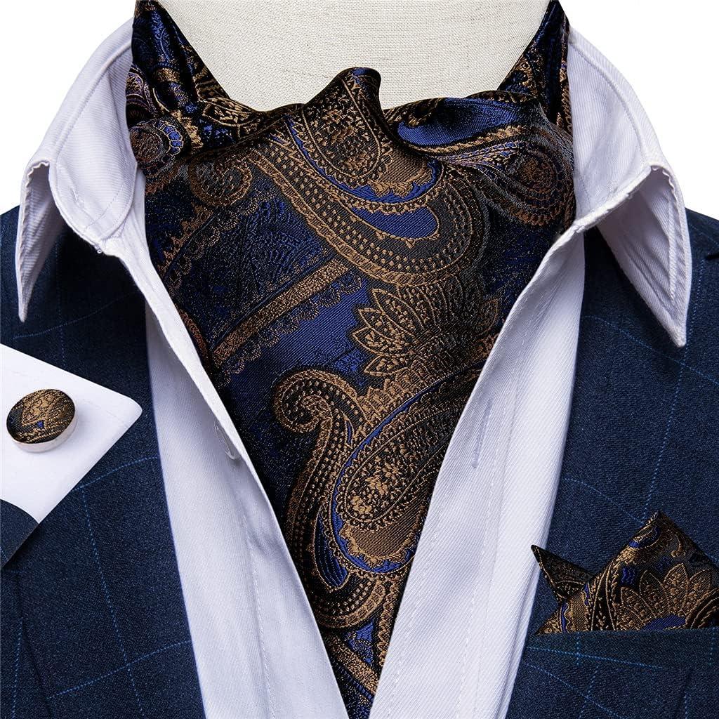 CFSNCM Fashion Men Vintage Silk Tie British Style Bussines Gentleman Cravat Tie Set for Wedding Party Formal Suit Accessory (Color : A, Size : One size)