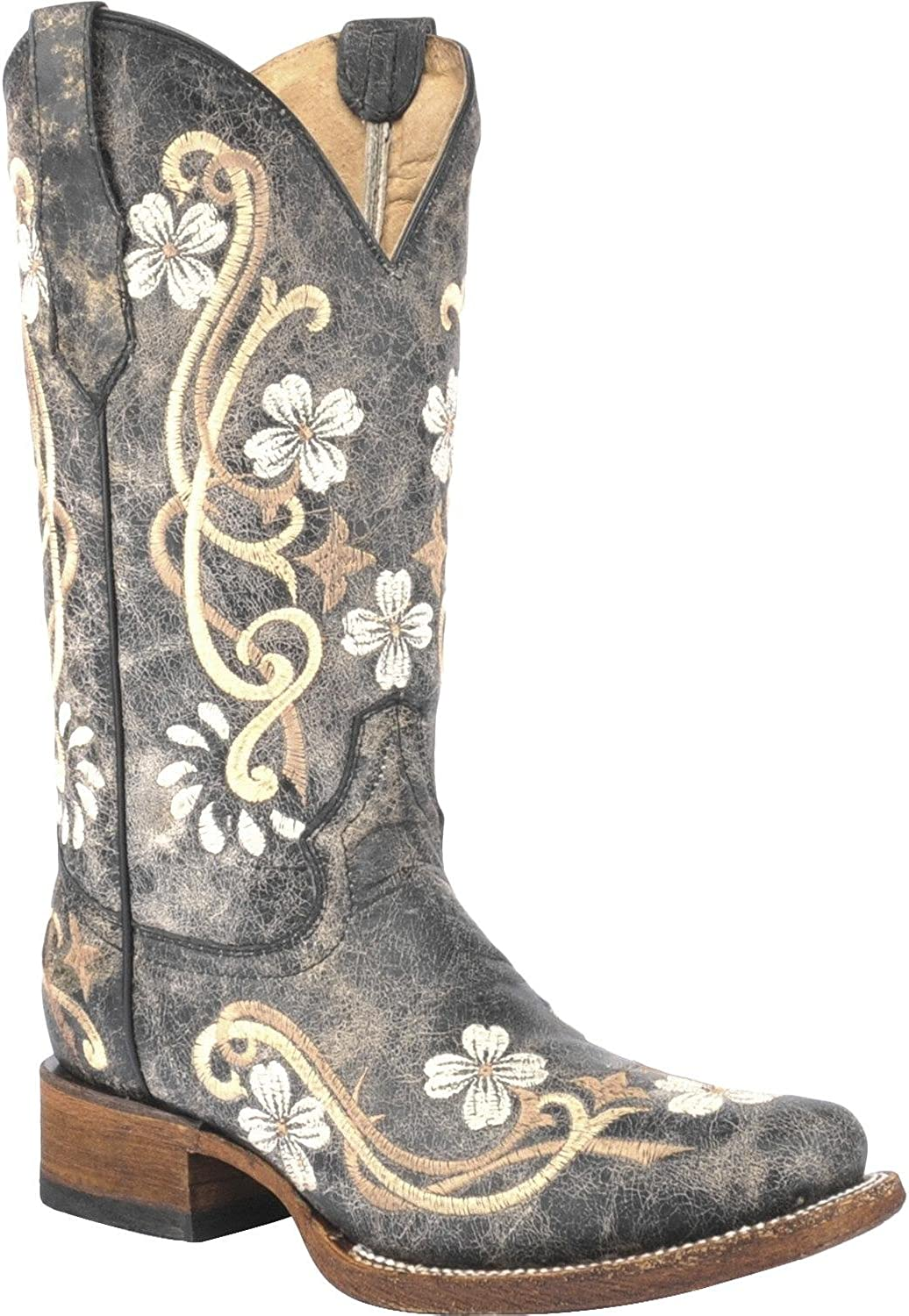 CORRAL Women's Honey Cowhide Cowgirl Boot Square Toe