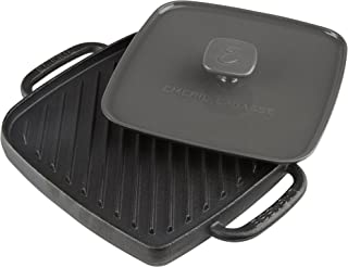 Emeril Lagasse 63058 Pre-Seasoned Cast Iron Single Burner Reversible Grill Griddle with Large Grill Press, Black, Gray