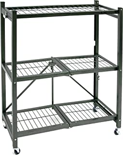 Origami General Purpose Foldable 3-Shelf Storage Rack with Wheels, Small