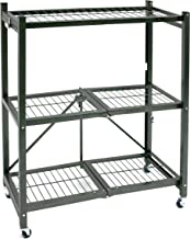 """Origami 3 Shelf Foldable Storage Unit on 3"""" Caster Wheels, Unfolds in 5 Seconds, Holds up to 750 Pounds, Metal Organizer W..."""