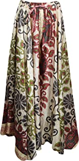 Womens Floral Maxi Skirt Recycle Sari Gypsy Hippie Chic Skirts M/L Beige