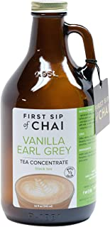The Spice Hut First Sip of Chai - Vanilla Earl Grey Tea Concentrate in Amber Reusable Glass Growler - Makes 1/2 Gallon, 32 Ounce