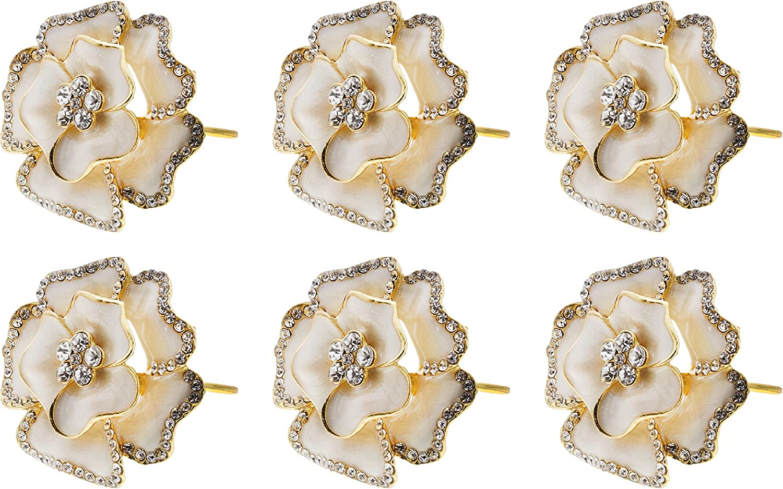 Servette Home Flower Design Quality inspection Napkin Translated Rhinestones of Rings with Set