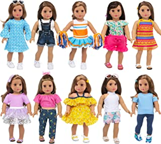 Ecore Fun 10 Sets American 18 Inch Doll Clothes and Accessories Doll Outfits Pajamas Dresses Cheerleader Uniform Fit for 1...