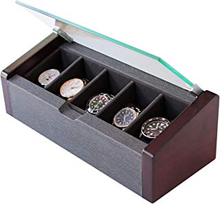 CASE ELEGANCE Watch Box Modern Premium Glass Top Lid 5-Slot with Herringbone Pattern