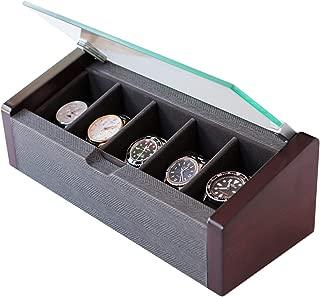 CASE ELEGANCE Watch Box Modern Premium Glass Top Lid 5-Slot with Herringbone Pattern