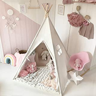 Kids Teepee Tent for Kids Foldable Play Tent - with Mat & Carry Case for Indoor Outdoor, Raw White Canvas Teepee - Kids Playhouse - Portable Kids Tent