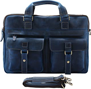Mens Vintage Full Grain Leather Briefcases Fit 15.6 Inch Laptop Computer, Messenger Bag for Work and Business (Blue)